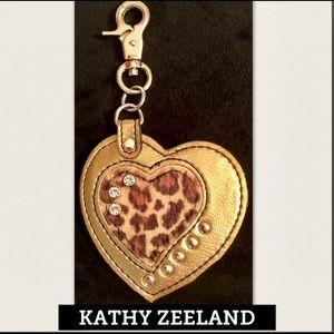 KATHY ZEELAND Leather Studded Heart Bag/Key Fob